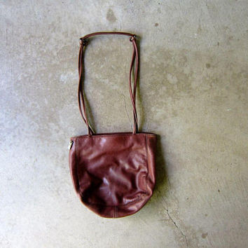 Vintage Supple Brown Leather Bag 90s Small Leather Shoulder Bag Tote Boho Purse Satchel Bag Hobo Bag Dark Brown Slouchy Purse Womens Bag
