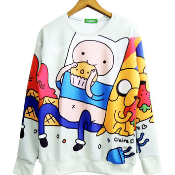 Harajuku women/men adventure time sweatshirt Funny cartoon Biscuit 3D hoodies Pullovers Autumn winter clothing plus size S-3XL