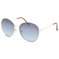 Blue Crown Round Aviator Sunglasses Silver One Size For Men 25384014001
