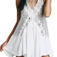 White Halter Contrast Lace Pleated Dress