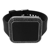 All Black Rectangle LED Touch Screen Watch