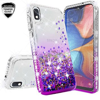 Samsung Galaxy A10e Case Liquid Glitter Phone Case Waterfall Floating Quicksand Bling Sparkle Cute Protective Girls Women Cover for Samsung Galaxy A10e W/Temper Glass- Purple