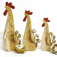 Three Rustic Wooden Chickens / Hens, Home Decor, Figurines, Farm Animals