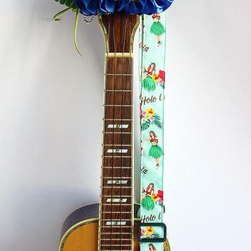 Ukulele strap (ribbon lei flower included)/ Mint green hula girl C / hawaiian fabric /ukulele accessory / instrument strap
