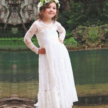 DZYECI Elegant Dress For Teenager Girl Floral Costume 2017 Fall Child Kid Wedding Party Tunic Lace Maxi 8 10 12 Year