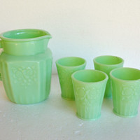 Jadeite Pitcher and Glasses – Vintage Green Milk Glass Serving Pieces - Mint Green Serving Piece – Green Kitchen – Pitcher and Glasses