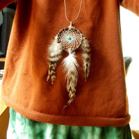 Long Boho Dream Catcher Necklace with Turquoise Bead & Chinchilla Feathers // Car Mirror Decor