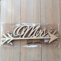 Rustic Wood Wedding Sign Mr & Mrs Arrow Signs Wedding Party Chair DecorationHUUS