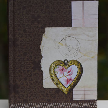 Notebook, Heart, Postmark, Brown, Floral journal, brown Notebook, Travel Journal, Sketchbook, Unlined White Paper, To Do List