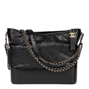CHANEL BLACK QUILTED AGED CALFSKIN LEATHER GABRIELLE HOBO BAG HB1588