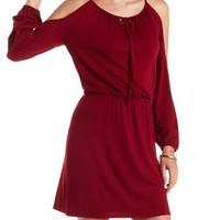 Burgundy Cold Shoulder Tie-Neck Dress by Charlotte Russe