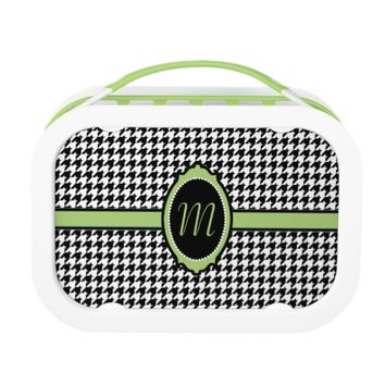 monogrammed houndstooth pattern in green lunch boxes