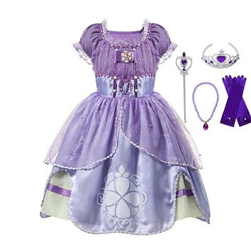 VOGUEON Little Girls Sofia Princess Dresses Kids Puff Sleeve Sequined Summer Cosplay Costume Children Prom Halloween Party Dress