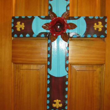 Large Rustic Brown Cross , Door Cross, Metal Rose Cross, Housewares, Wall Decor