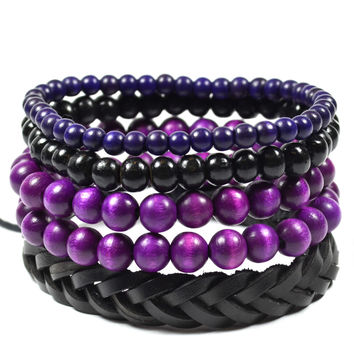 5 Pack Purple and Black