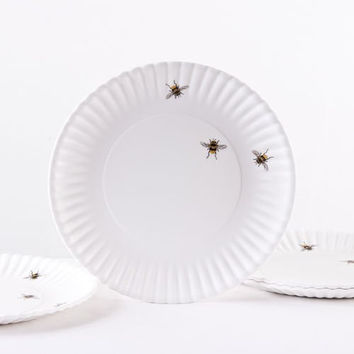 Bee 'Paper' Plate, Melamine (Set of Four)