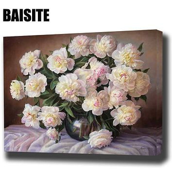 BAISITE DIY Framed Oil Painting By Numbers Flowers Pictures Canvas Painting For Living Room Wall Art Home Decor E809