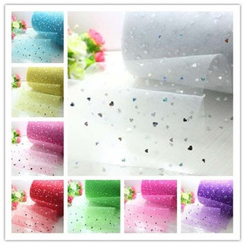 5yards 6inch Sequins Tulle Soft Tulle Rolls Wedding Tulle Glitter Tulle Roll DIY Tulle Fabric Craft heart Style New L2806-2815 [7983577607]