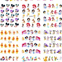 11sheet/lot Nails Stickers Mickey Mouse Cartoon Princess Stickers for nails Water Transfer Sticker Decal for Nail ZJT0003