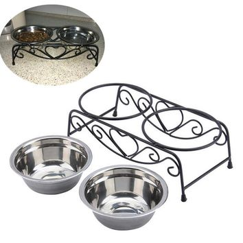 Double Stainless Steel Dog Bowls With Stand Feeder Travel Anti Slip Food Water Bowls Eating Dish