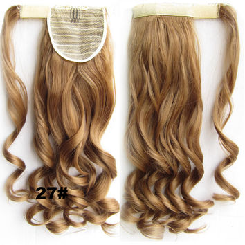 Ponytail Hair Extension Heat Proof Synthetic Wrap Around Invisable Long wavy Velcro Ponytail Hair Extension Clip In on Hair Pony Tail,Wig Hairpiece,woman wigs,wig hairs,Bath & Beauty,Accessories BIP-888 27#