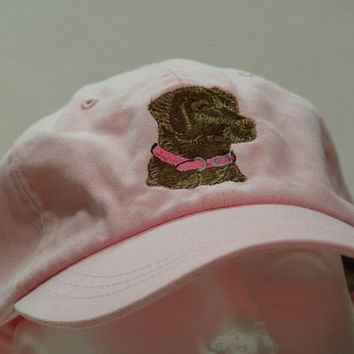 Chocolate Labrador Retriever Dog Hat - One Embroidered Men Women Cap - Price Embroidery Apparel - 24 Color Caps Available