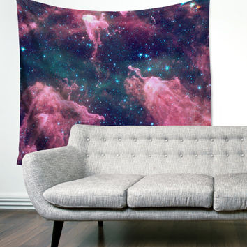 Cotton Candy Space Galaxy Purple Blue Pattern Gypsy Unique Dorm Home Decor Wall Art Tapestry