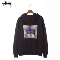 Stussy classic long-sleeved boy-and-girl outfit with a loose hooded hoodie