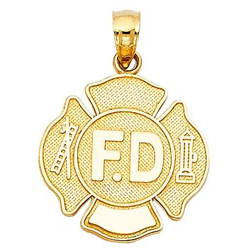 Fire Department Badge Pendant - 14K Solid Yellow Gold