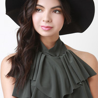 Knotted Strap Felt Floppy Hat
