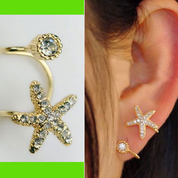 Starfish And Round Rhinestone Ear Cuff (Single, No Piercing)