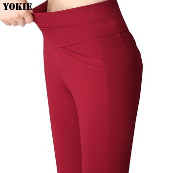 Summer stlye women office work pants High stretch cotton ladies straight pants  female High Waist trousers Plus size S-XXXL 4XL