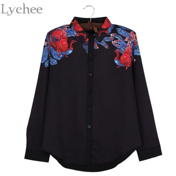 Lychee Vintage Spring Autumn Women Blouse Phoenix Bird Print Casual Loose Long Sleeve Shirt Tops