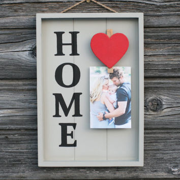 Wooden Home sign, Photo Clip Frame, Wooden sign with heart,Hand Painted Wall decor,Unique Picture frame,Sweet Wedding Gift,Housewarming gift