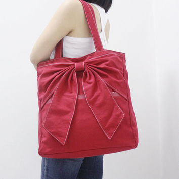 Anniversary Sale  RED Canvas Women Tote Shoulder Bag by Kinies