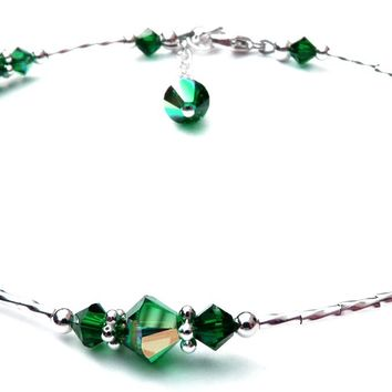 Handmade Sterling Silver Beaded Ankle Bracelets  | Birthstone Emerald May