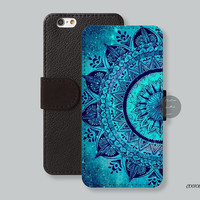 Mandala iPhone 6 plus case, Leather Wallet iPhone 6 case Wallet cover iPhone 5s case iPhone 5c case Galaxy  s4 s5 Note3/4  - C00108