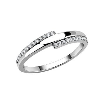 Back To You - Women's Stainless Steel And Two Layer Clear CZ Ring