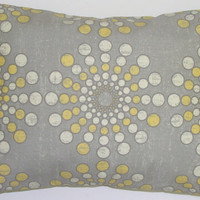 Starburst Pillow.Gray and Yellow.12x16 or 12x18 inch Decorator Pillow Covers.