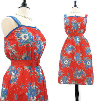 70s 80s Sun Dress Vintage Red Floral Summer Sundress L XL