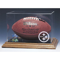 Pittsburgh Steelers NFL Football Display Case (Wood Base)
