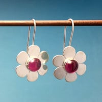 Dana Stenson -  Sterling Silver Simulated Ruby Flower Earrings