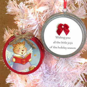 Red and Silver Mason Jar Ring Lid Christmas Tree Ornament, Upcycled Cards and Paper, Country Christmas Home Decor, Rustic Holiday Decor