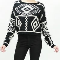 Long sleeve knit tribal aztec print crop sweater tops