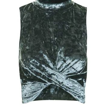 Crushed Velvet Twist Front Top - Tops - Clothing