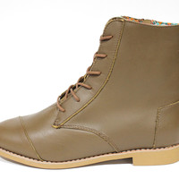 Toms Women's Alpha Boot Brown Leather Side Zipper Boots
