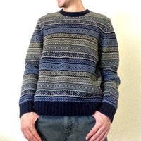 100% Lambs' Wool Sweater by the Gap - Blue, Navy, Green, Beige, Gray Fair Isle Stripes - Warm Knit - Mens Size Large (L)