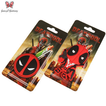 Super Q style cartoon Anime Keychain Deadpool Llavero PVC Key Chain  Super Hero Action Figure Key Ring Toy Pendant ZKDP2S