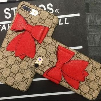 GUCCI Bow iPhone Phone Cover Case For iphone 6 6s 6plus 6s-plus 7 7plus 8 8plus