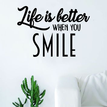 Life is Better When Smile Quote Decal Sticker Wall Vinyl Art Home Decor Inspirational Happiness Happy
